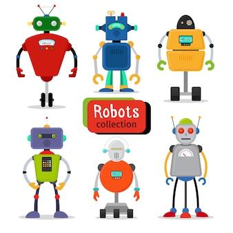 かわいい漫画のロボットが白の背景に設定