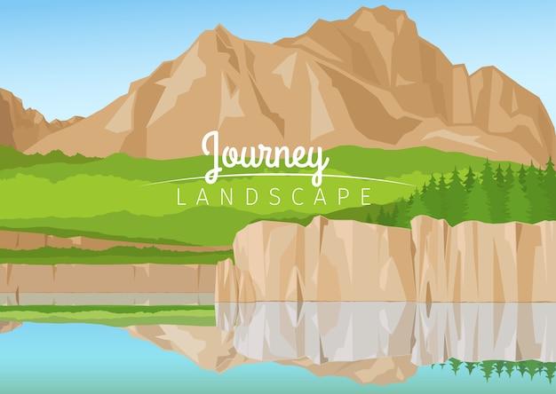 山の背景を持つ旅の風景