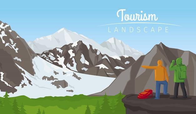 山と冬の観光風景