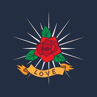Старая школа тату роза с лентой