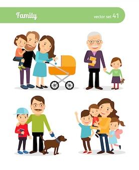 Счастливые семейные персонажи