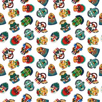 部族のカラフルなマスクのシームレスパターン
