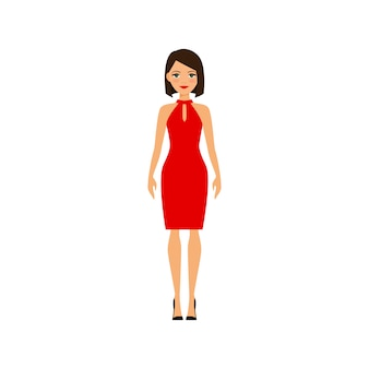 赤のセクシーなドレスを着た女性