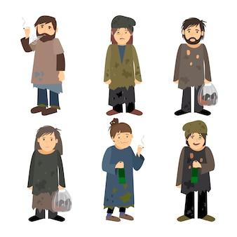 Бездомные люди мужчины и женщины вектор изолированных