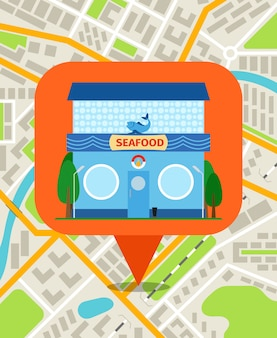市内地図上のシーフードショップピン。スマートフォンのベクトル図のナビゲーションシステム
