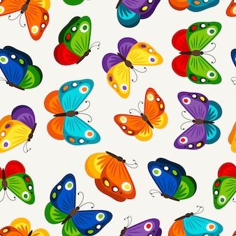 子供の蝶のシームレスパターン。子供のためのベクトルファッション蝶の壁紙