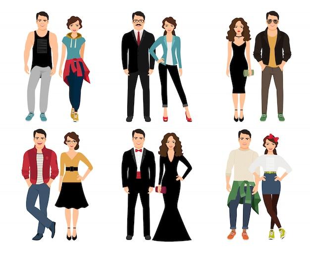 カジュアルな流行カップルのベクトル図です。分離されたエレガントなハンサムなおしゃれなカップル