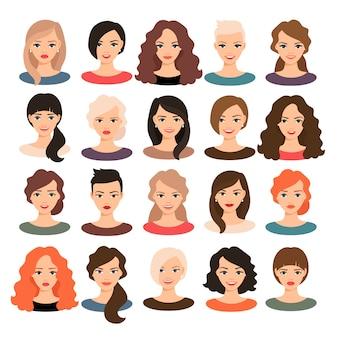 女性アバター設定ベクトル図です。分離された別の髪のスタイルを持つ美しい若い女の子の肖像画