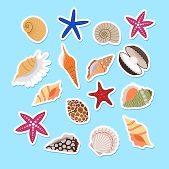 Морские раковины милые наклейки
