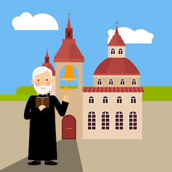 色のついた教会の建物と牧師