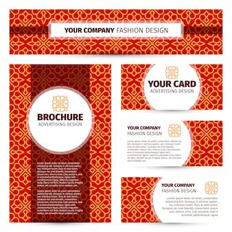 赤の中国風デザインのコーポレートアイデンティティ。ブランディングテンプレート