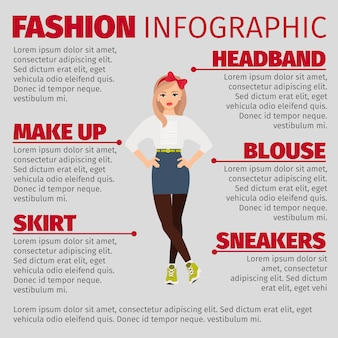 Девушка в непринужденном стиле моды инфографики шаблон