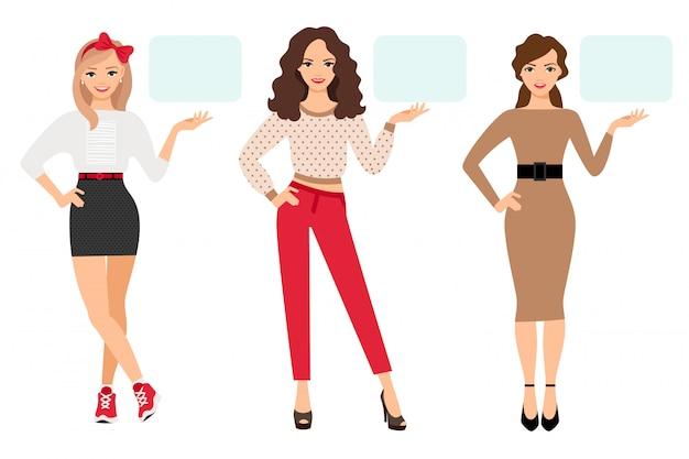 Вскользь мода женщина презентации векторные иллюстрации. молодая девушка появляется на пустой тарелке в разных позах