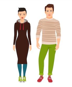 流行に敏感なスタイルの服やスニーカーのファッションカップル。ベクトルイラスト