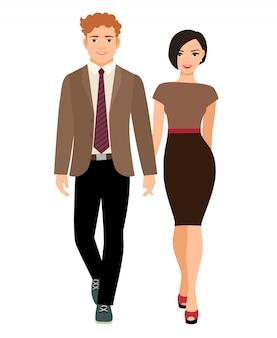 ビジネス服でエレガントなスタイルのカップル。ベクトルイラスト
