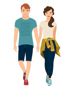 スポーツスタイルの衣装で美しいカップル。ベクトルイラスト