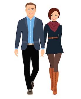 ビジネスカジュアルスタイルファッションの人々のカップル。ベクトルイラスト