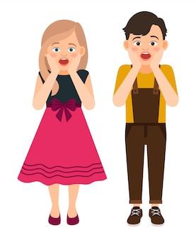 Удивленные шаржем иллюстрация вектора мальчика и девушки. дети с удивленным выражением лица