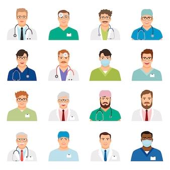 Доктор профиль головы векторные иллюстрации. люди медицины врача сталкиваются с изолированными иконами портрета