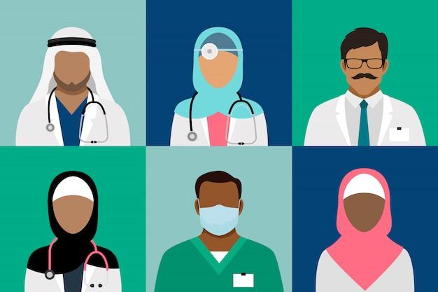 アラビアのイスラム教徒の医療スタッフのアバター。医師と医師、外科医と看護師、歯科医と薬剤師のベクトル
