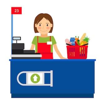 レジ係の女性とショッピングカート