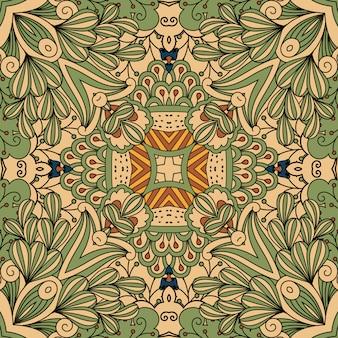 Зелено-бежевый растительный орнамент