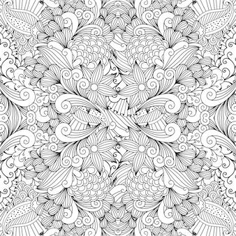 モノクロの夏のスケッチ生地パターン