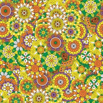 花の装飾的なマンダラスタイルのパターン