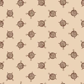 もつれとスポークのミシンベージュ色のシームレスパターン。ヤーンボールとミシン針ベクトルイラスト