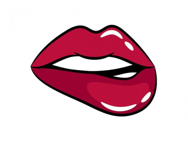 女性の明るい紫色の唇。光沢のある唇、ベクトルイラスト