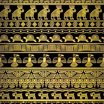 メキシコ風合いの部族ゴールドシームレスパターン