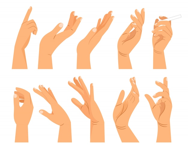 さまざまな位置での手のジェスチャー