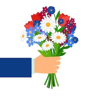 白で隔離されるビジネスマンの手で花束