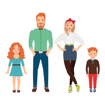 カジュアルな服装で幸せな家族