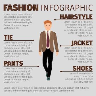 幸せな男子学生とファッションのインフォグラフィック