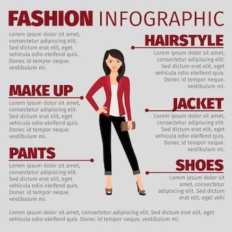 Леди в красной куртке моды инфографики