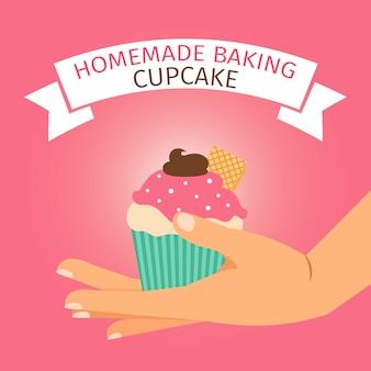 ピンクのカップケーキと自家製ベーキング