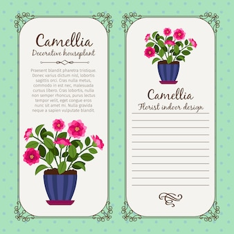 鉢植えの花ツバキとビンテージラベル