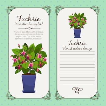 鉢植えの花のフクシアとビンテージラベル
