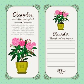 花オレアンダーとビンテージラベル