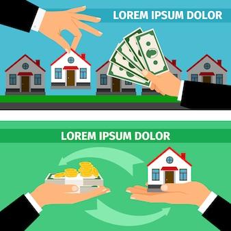 Бизнесмен руки, давая деньги и принимая набор баннеров жилищного строительства