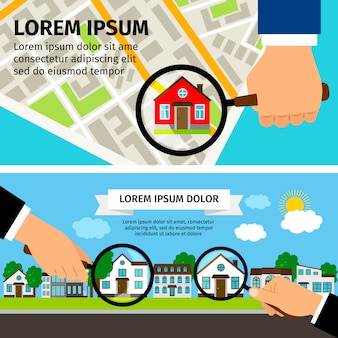 Поиск концепции дома с увеличительным стеклом с домом и картой