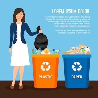 ゴミを持つ女性
