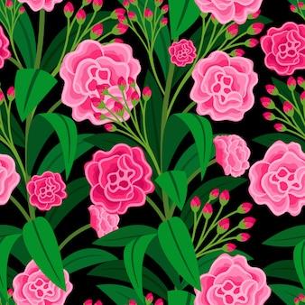 Розовые цветы с зелеными листьями цветочным узором