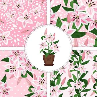 Розовая лилия в цветочном горшке