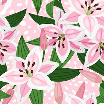 Розовая лилия с листьями цветочный узор