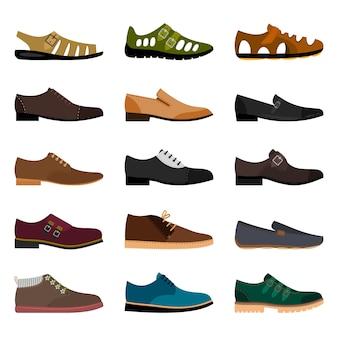 男性の靴が分離されました。ベクトル流行の冬の革と夏のファッションモデル男靴コレクションイラスト