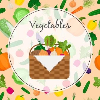 新鮮な野菜がいっぱい入ったかご
