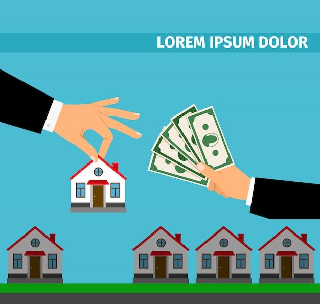 現金の家バナーのコンセプトを購入します。