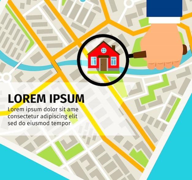 Поиск дома на карте концепции